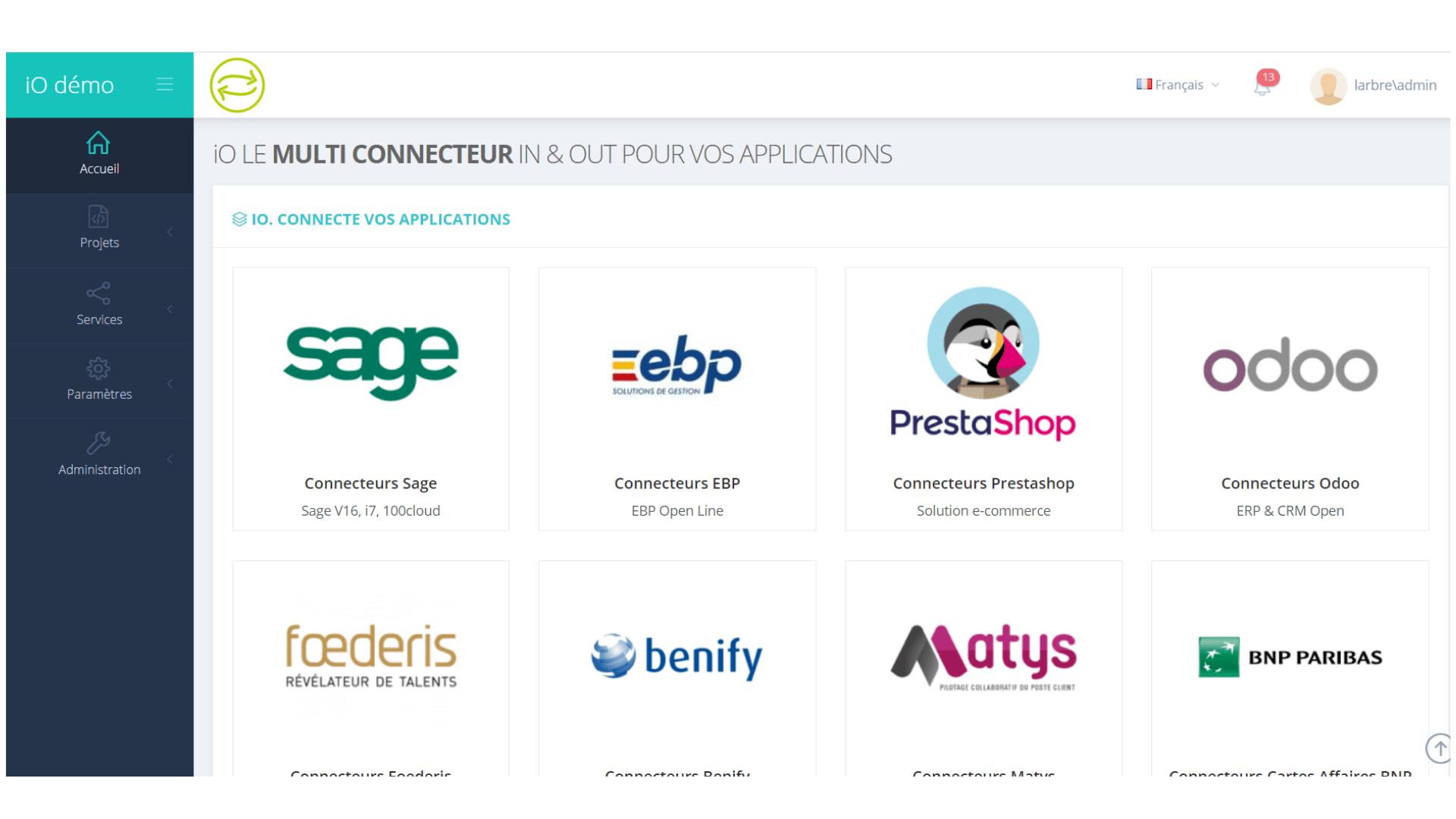 capture d'écran de la page d'accueil de la solution IO