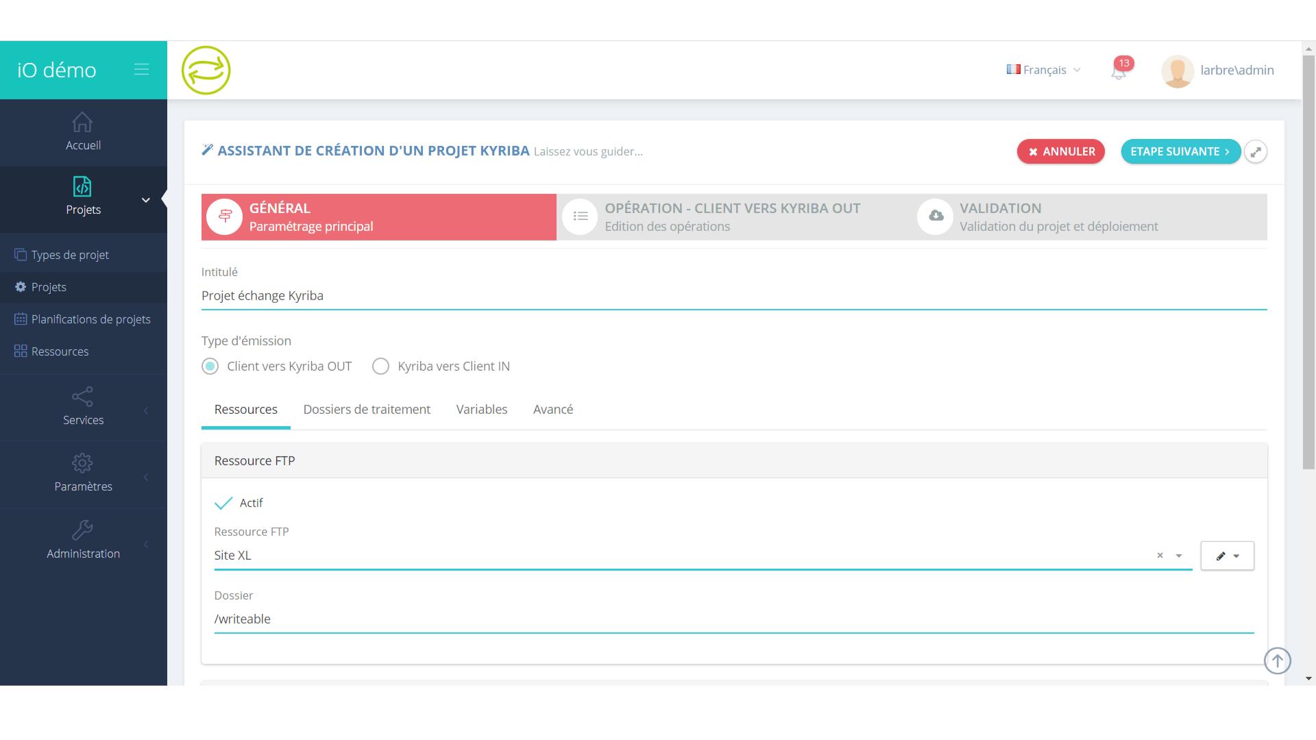création d'une page projets dans IO