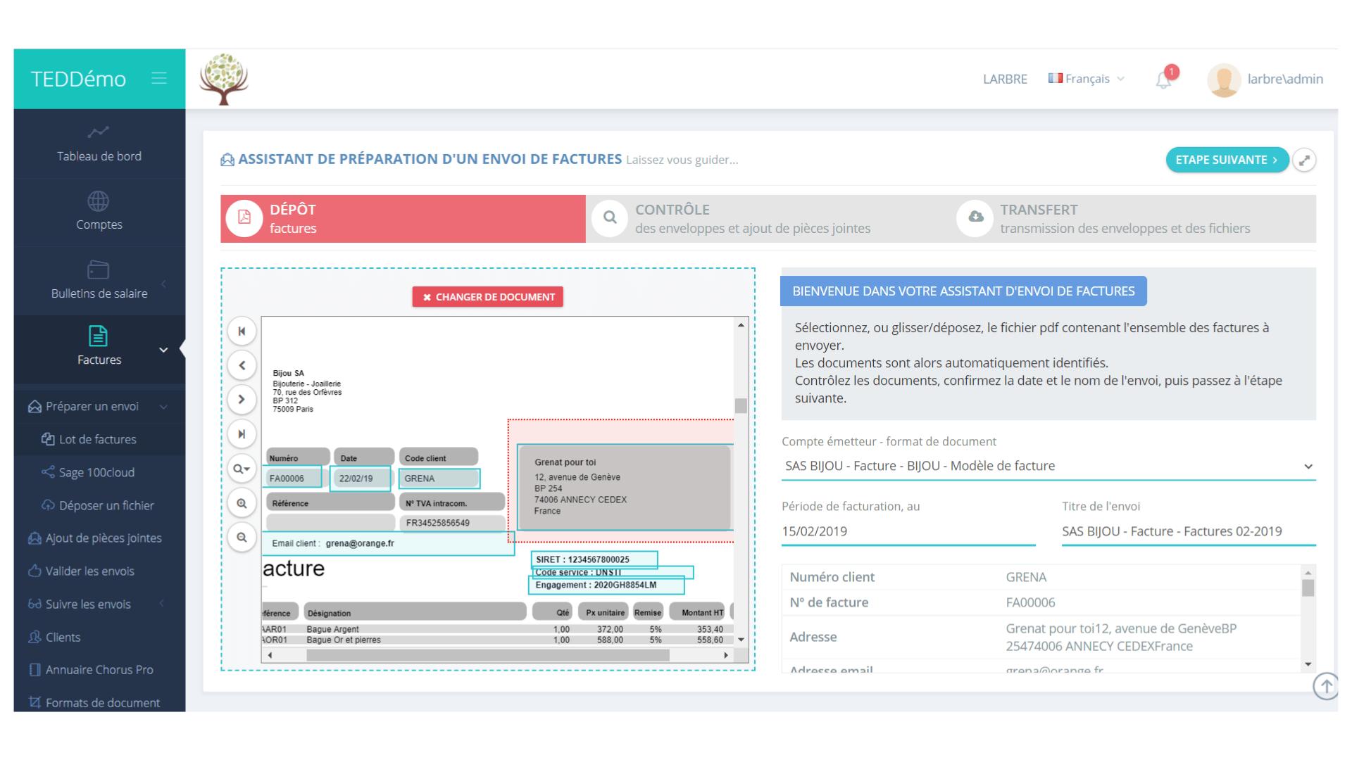 capture d'écran de l'assistant d'envoi de factures