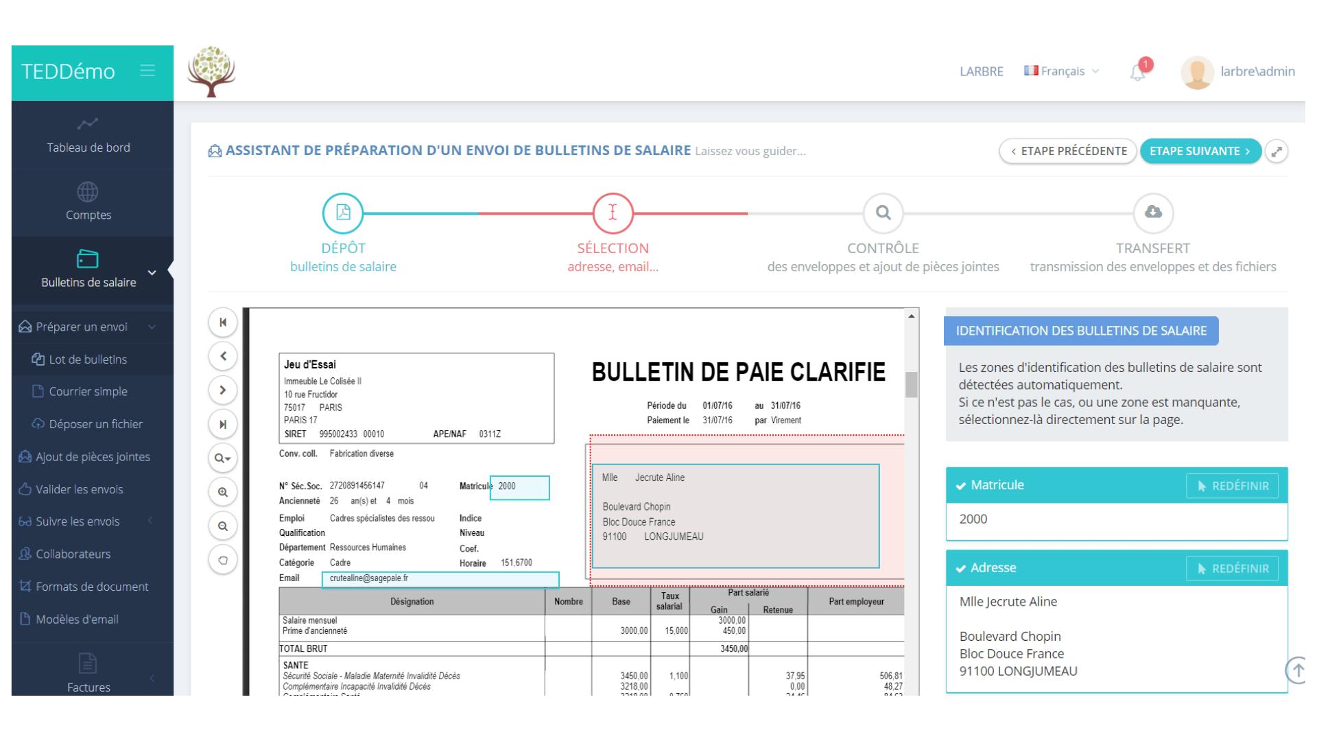 capture d'écran du processus d'envoi d'un bulletin de salaire